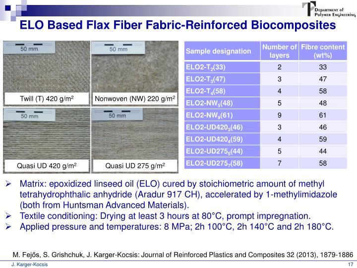 ELO Based Flax Fiber Fabric-Reinforced Biocomposites