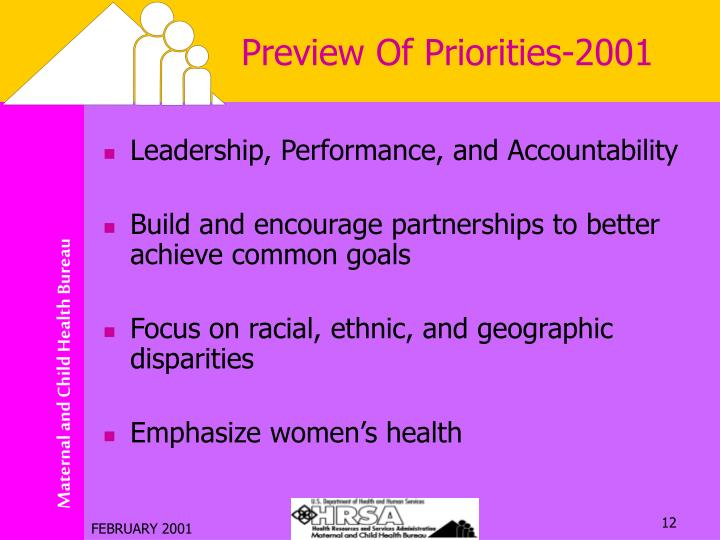 Preview Of Priorities-2001