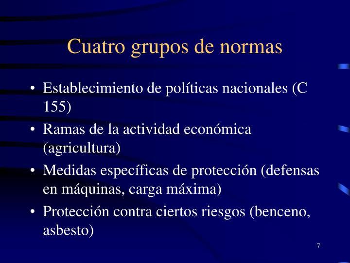 Cuatro grupos de normas
