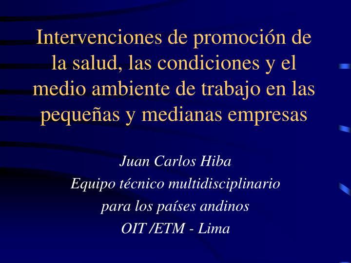 Intervenciones de promoción de la salud, las condiciones y el medio ambiente de trabajo en las pequ...