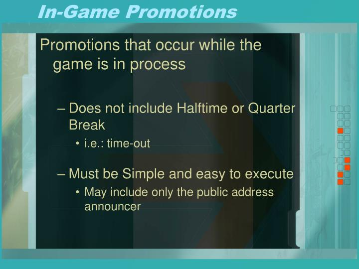 In game promotions