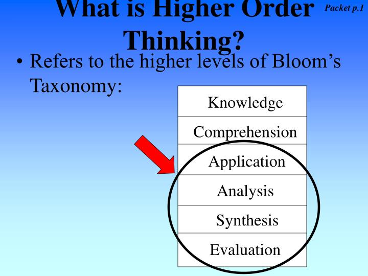 what is higher order thinking n.