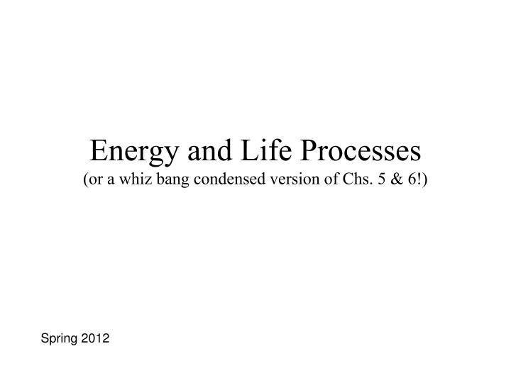 energy and life processes or a whiz bang condensed version of chs 5 6 n.