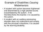 example of disabilities causing misbehaviors