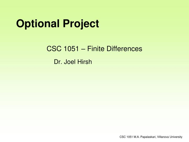 csc 1051 finite differences n.