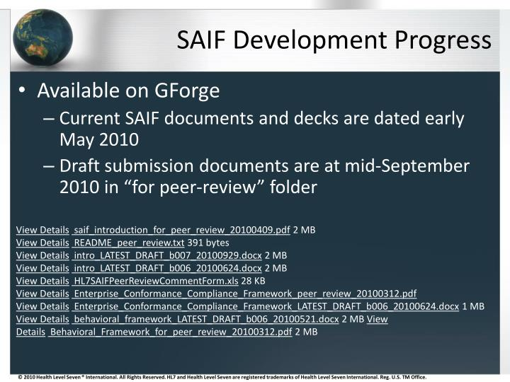 SAIF Development Progress