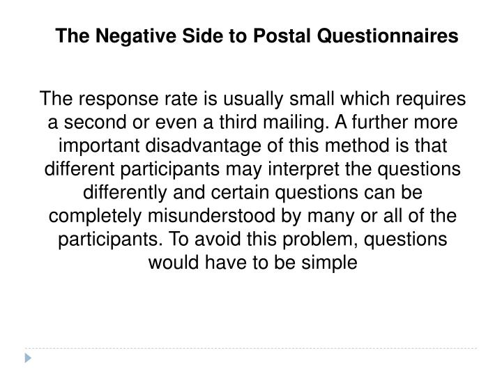 The Negative Side to Postal Questionnaires