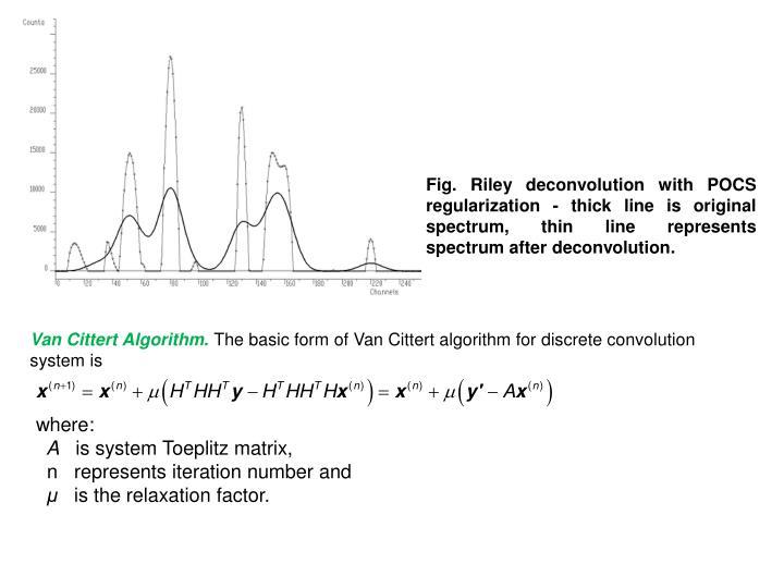Fig.Riley deconvolution with POCS regularization - thick line is original spectrum, thin line represents spectrum after deconvolution.