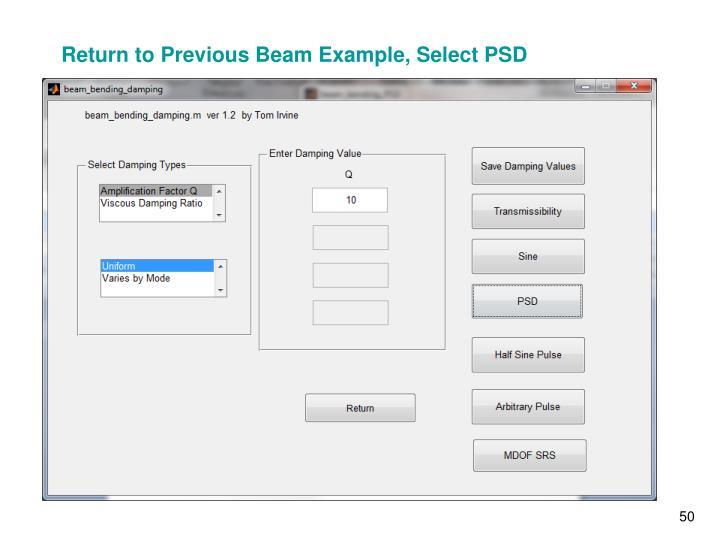 Return to Previous Beam Example, Select PSD
