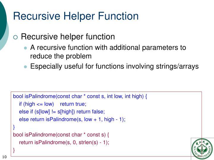 Recursive Helper Function