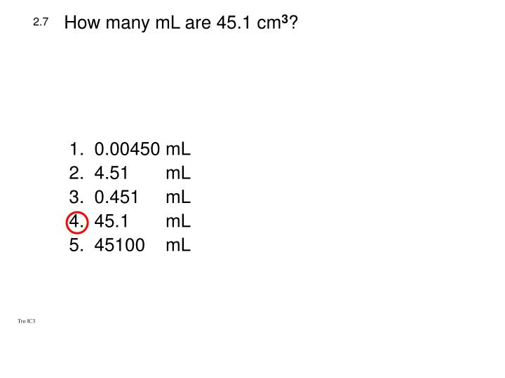 How many mL are 45.1 cm