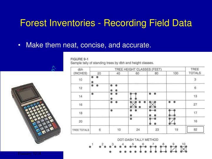 Forest Inventories - Recording Field Data