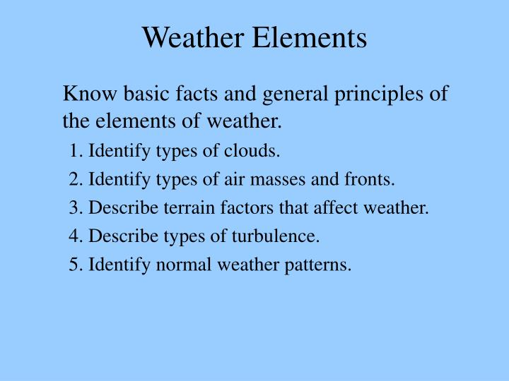 weather elements n.