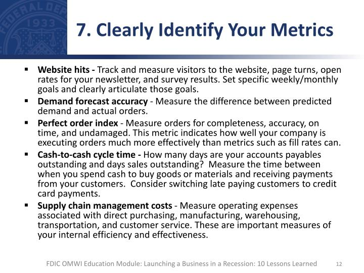 7. Clearly Identify Your Metrics