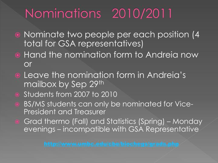 Nominations   2010/2011