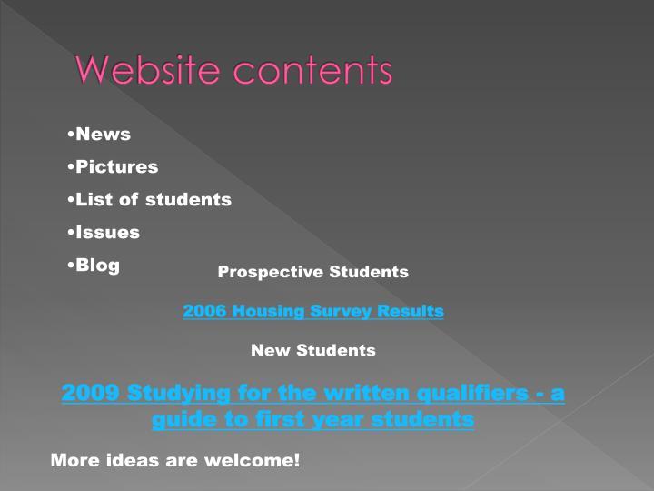 Website contents