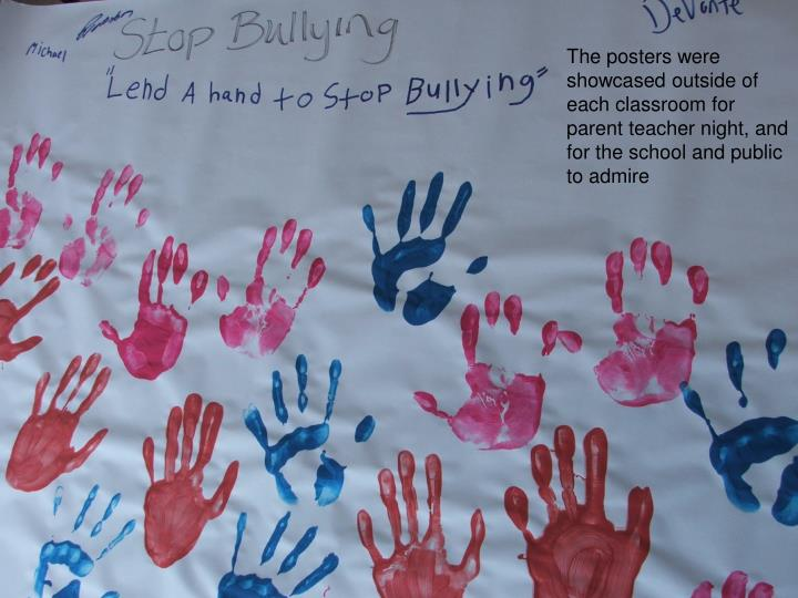 The posters were showcased outside of each classroom for parent teacher night, and for the school and public to admire