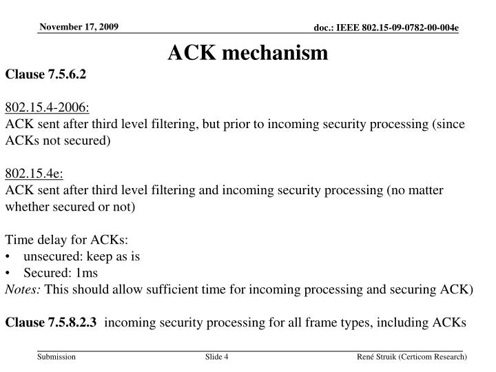 ACK mechanism