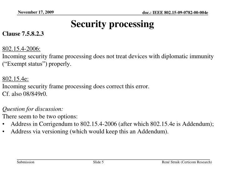 Security processing