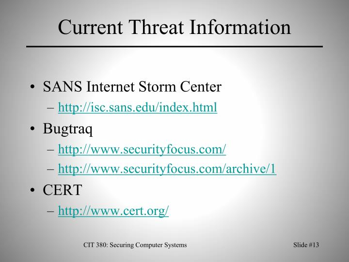 Current Threat Information