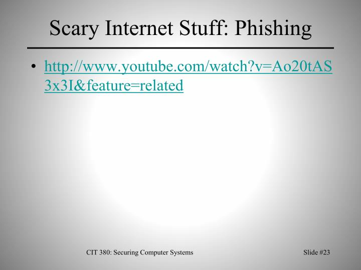 Scary Internet Stuff: Phishing