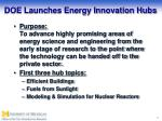 doe launches energy innovation hubs