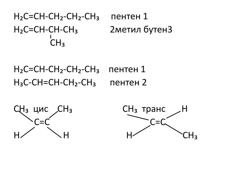 Н₂С=СН-СН₂-СН₂-СН₃