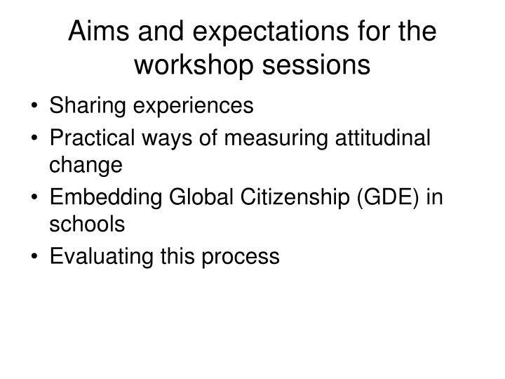 Aims and expectations for the workshop sessions