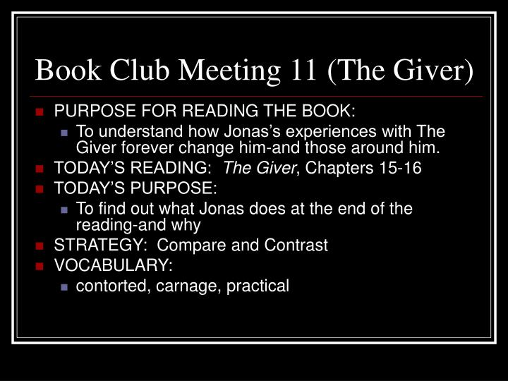 Book Club Meeting 11 (The Giver)