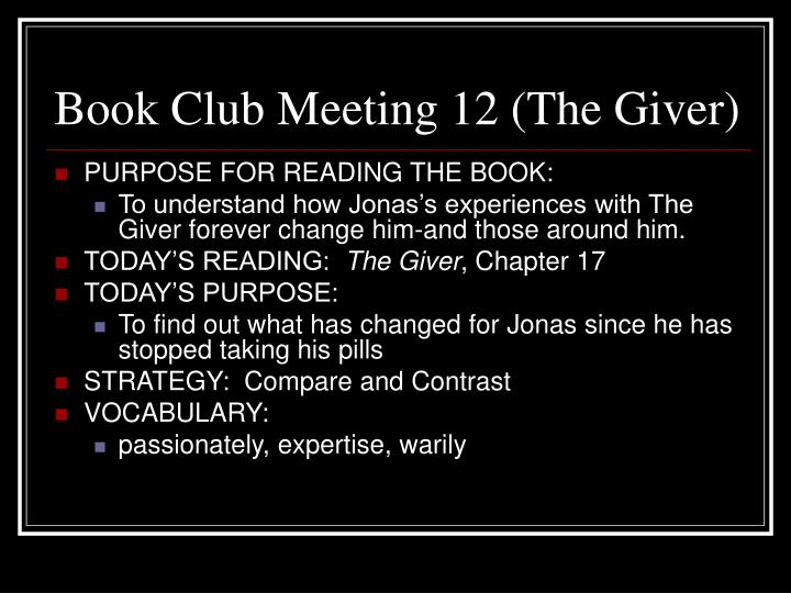Book Club Meeting 12 (The Giver)