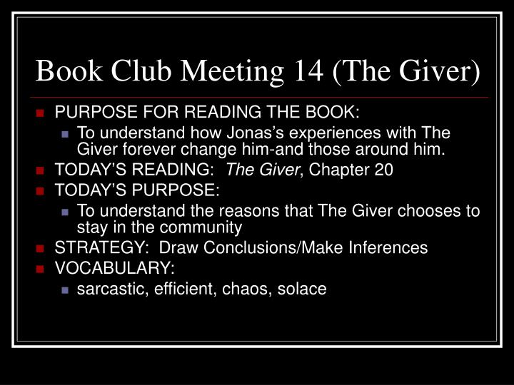 Book Club Meeting 14 (The Giver)
