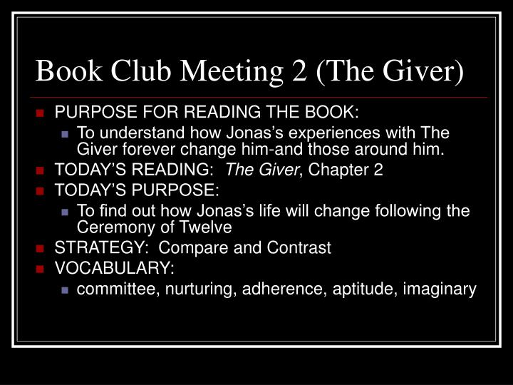 Book club meeting 2 the giver