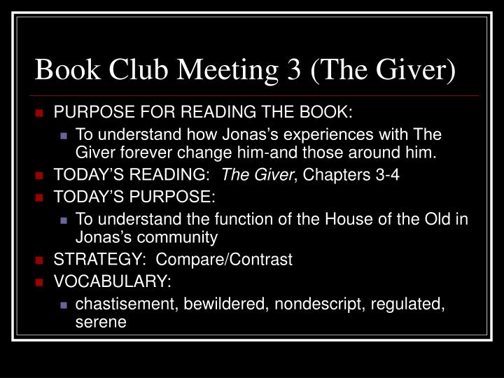 Book Club Meeting 3 (The Giver)