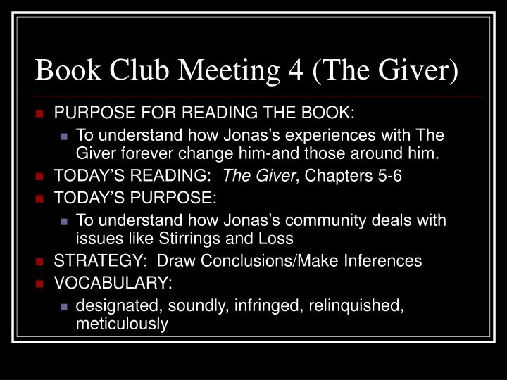 Book Club Meeting 4 (The Giver)