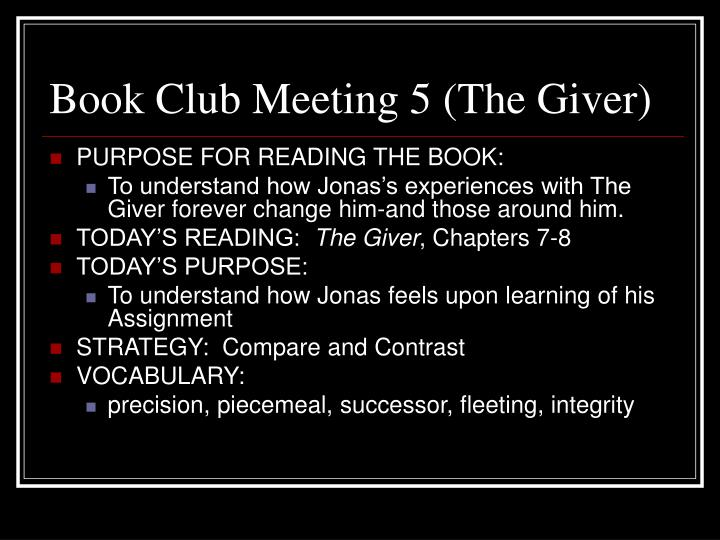Book Club Meeting 5 (The Giver)
