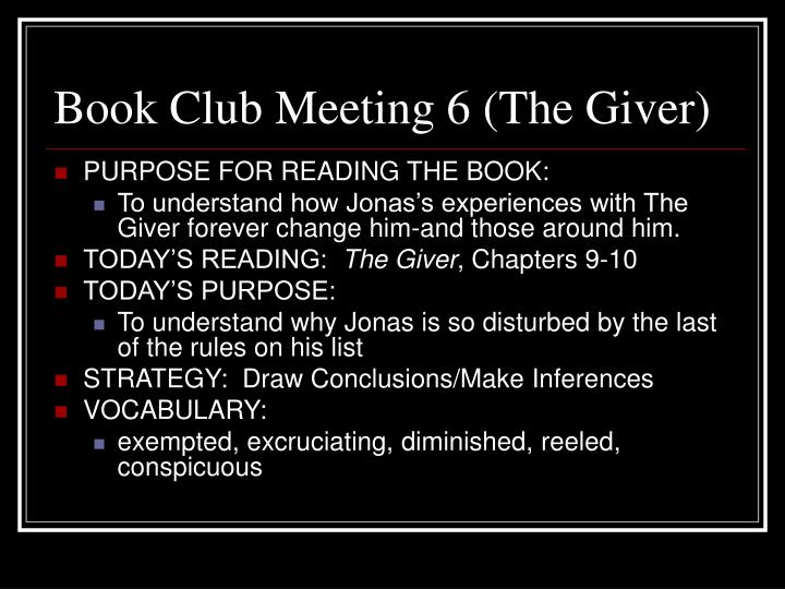 Book Club Meeting 6 (The Giver)
