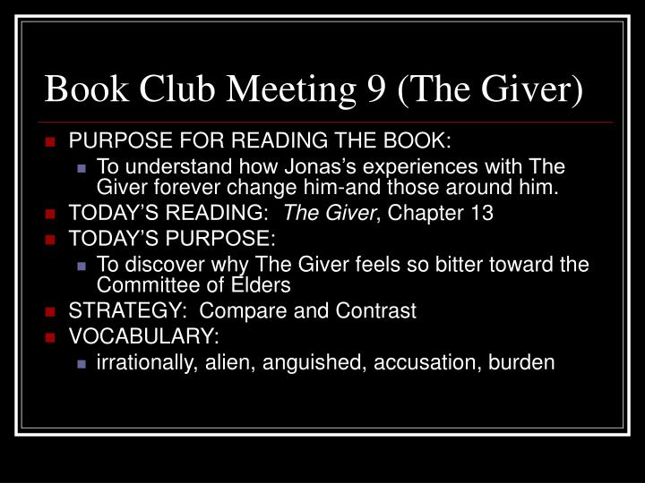 Book Club Meeting 9 (The Giver)