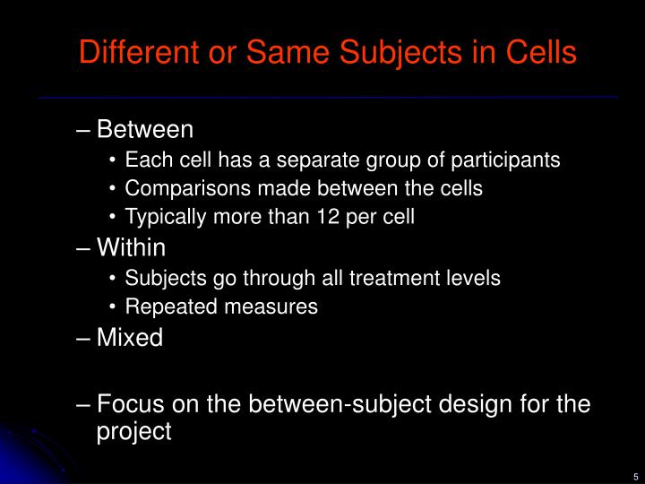between subjects design How subjects might do better if a researcher does not use a between-subjects design a weakness of between-subjects design a strategy or strategies for making groups equivalent.