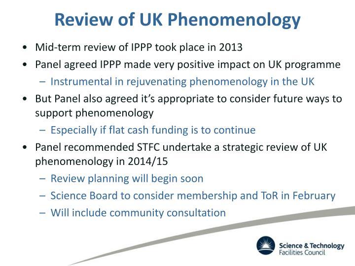 Review of UK Phenomenology