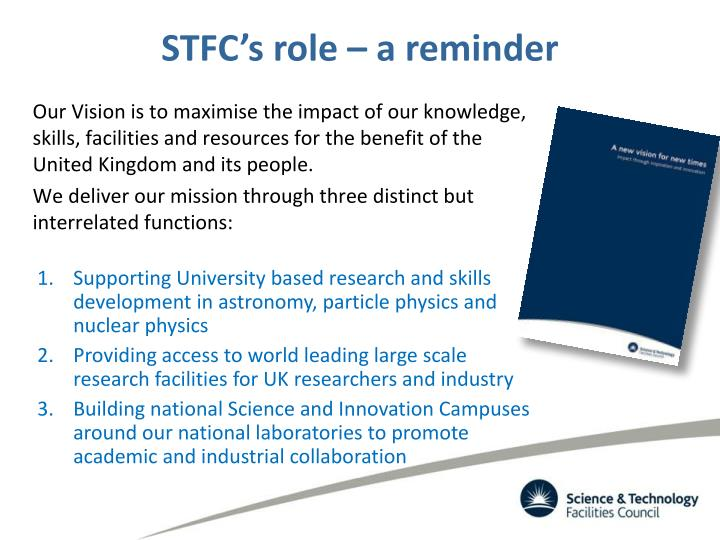 Stfc s role a reminder