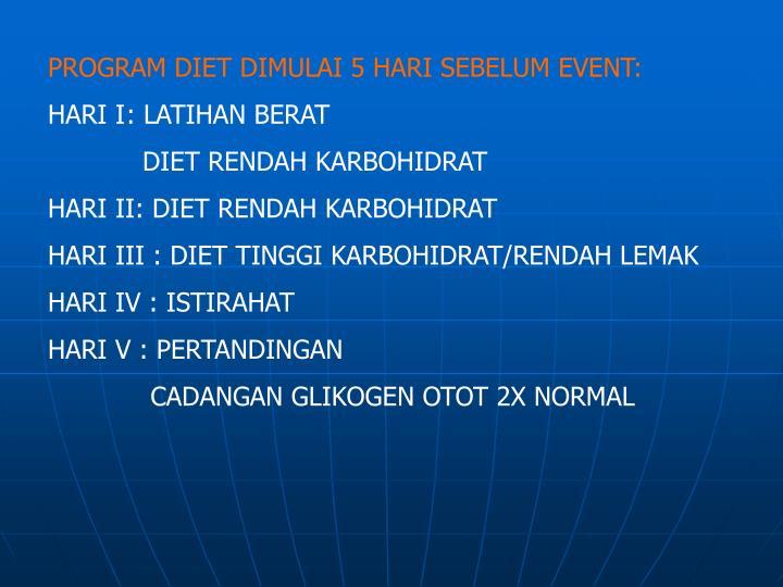 PROGRAM DIET DIMULAI 5 HARI SEBELUM EVENT: