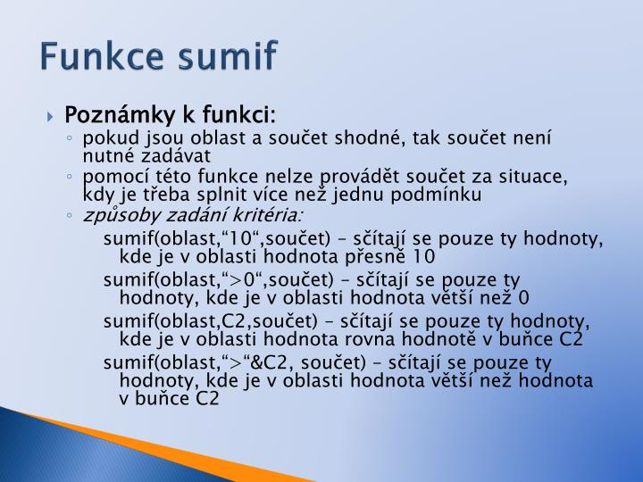 Funkce sumif1