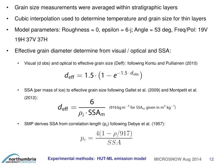 Grain size measurements were averaged within stratigraphic layers