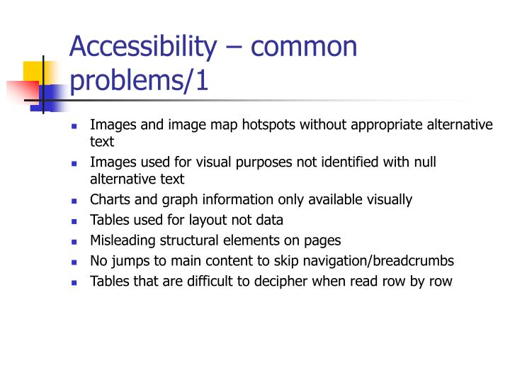 Accessibility – common problems/1