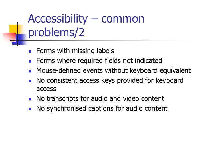 Accessibility – common problems/2