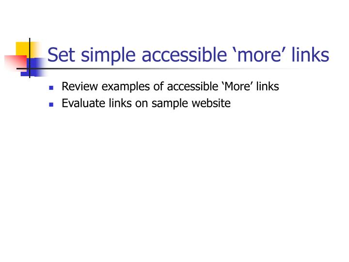 Set simple accessible 'more' links