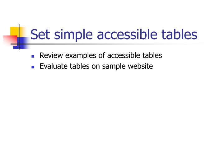 Set simple accessible tables