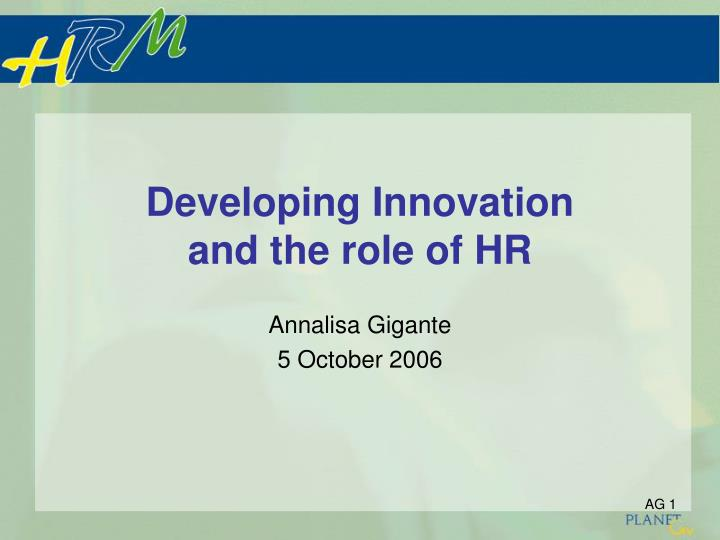 developing innovation and the role of hr n.