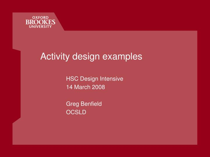 activity design examples n.