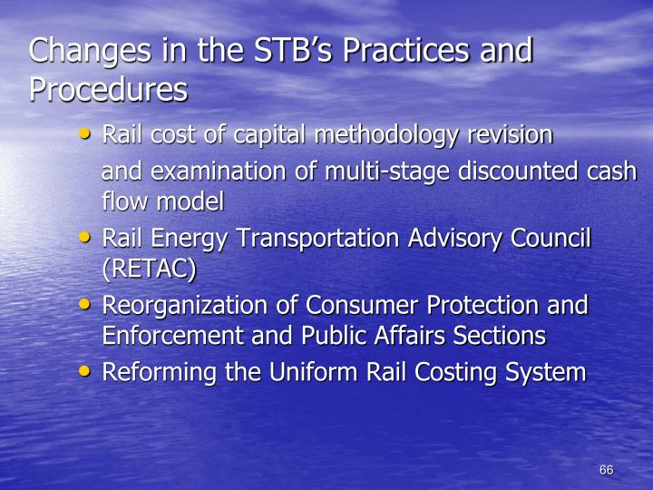Changes in the STB's Practices and Procedures